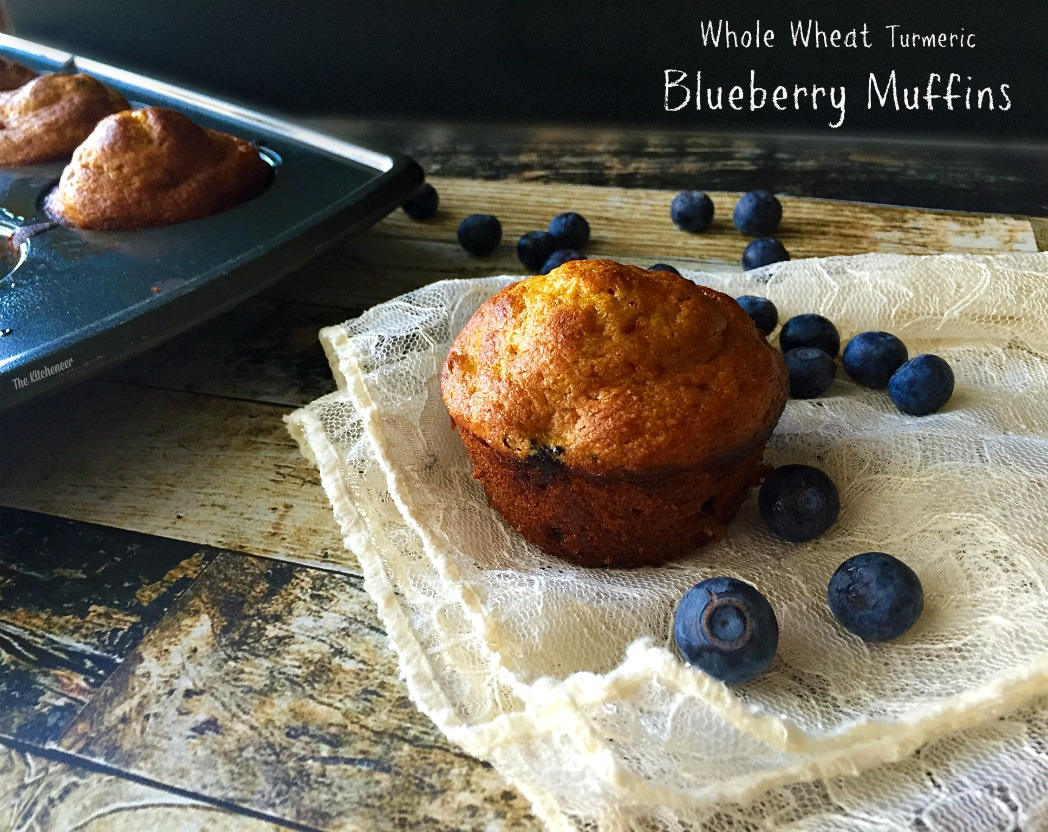 Whole Wheat Turmeric Blueberry Muffins | The Kitcheneer