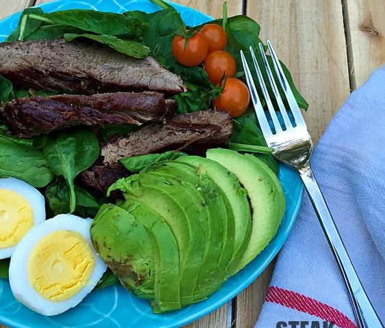 Steak and Egg Spinach Salad