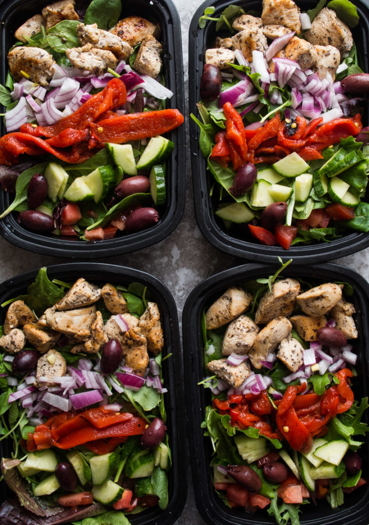 Greek Chicken Salad Meal Prep Bowls