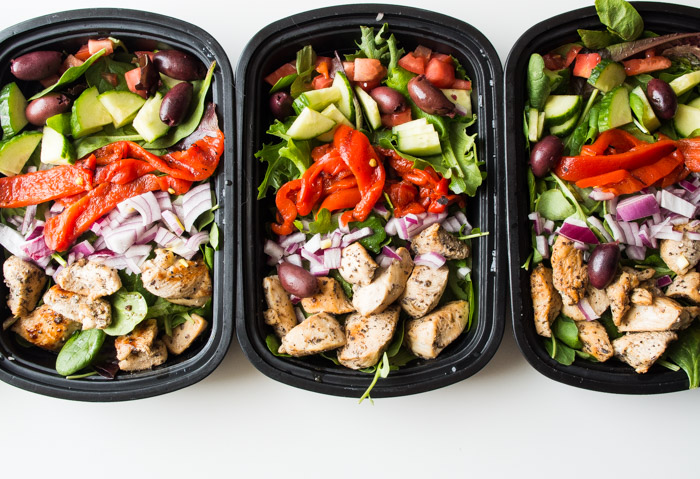 Greek Chicken Salad Meal Prep Bowl- the perfect protein packed meal prep done in 30 minutes! |thekitcheneer.com