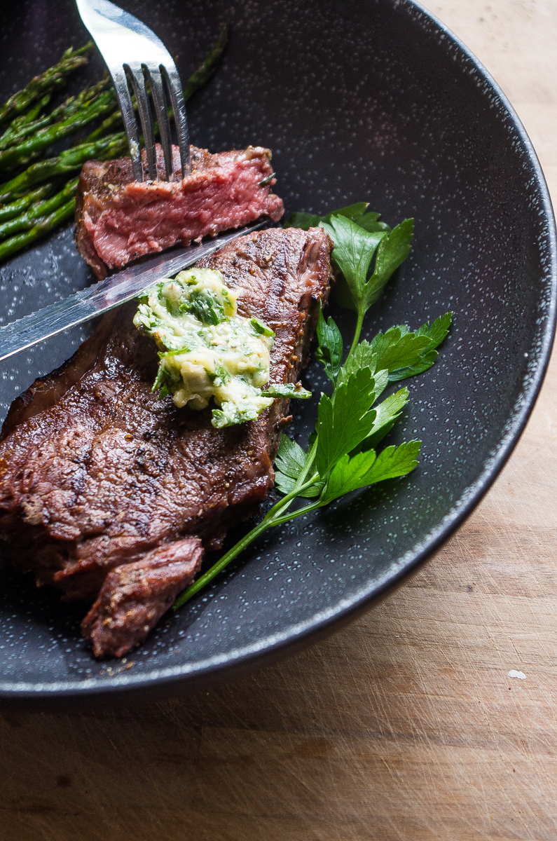Perfect Grilled Steak with Roasted Garlic Herb Butter