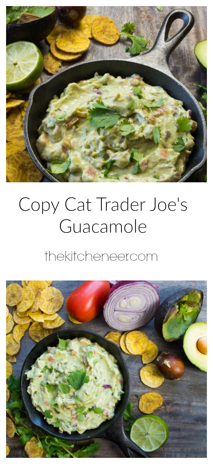 Copy Cat Trader Joe's Guacamole-make all the amazing guacamole recipe with greek yogurt that tastes just like the Trader Joe version!|thekitcheneer.com