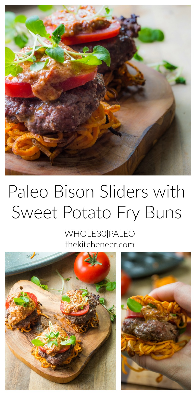 Paleo Bison Sliders with Sweet Potato Fry Buns- your new favorite summer grilling recipe where you can have burger and fries all in one bite!|thekitcheneer.com