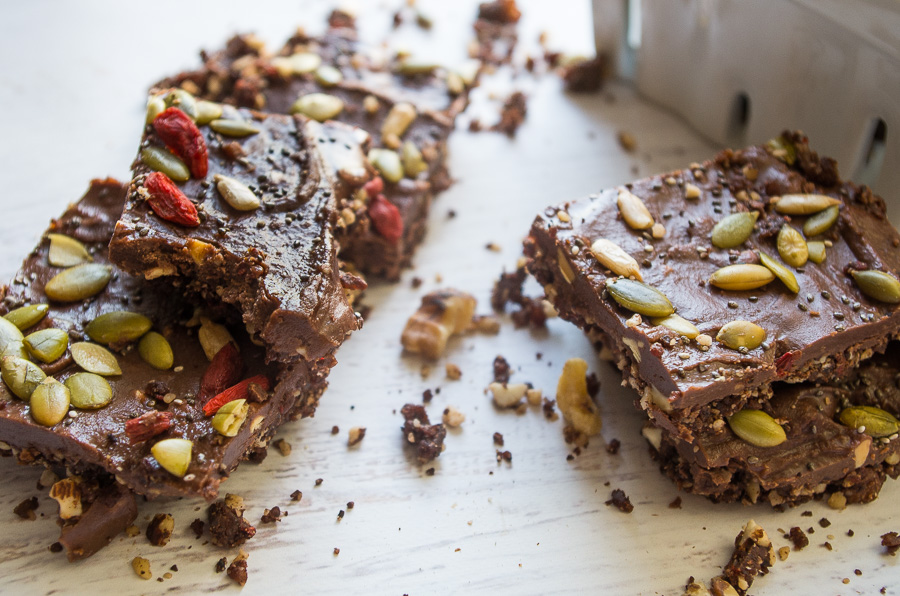 These raw and no bake superfood chocolate seed and nut bars are the perfect post workout snack or anytime healthy snack that takes as little as 30 minutes!