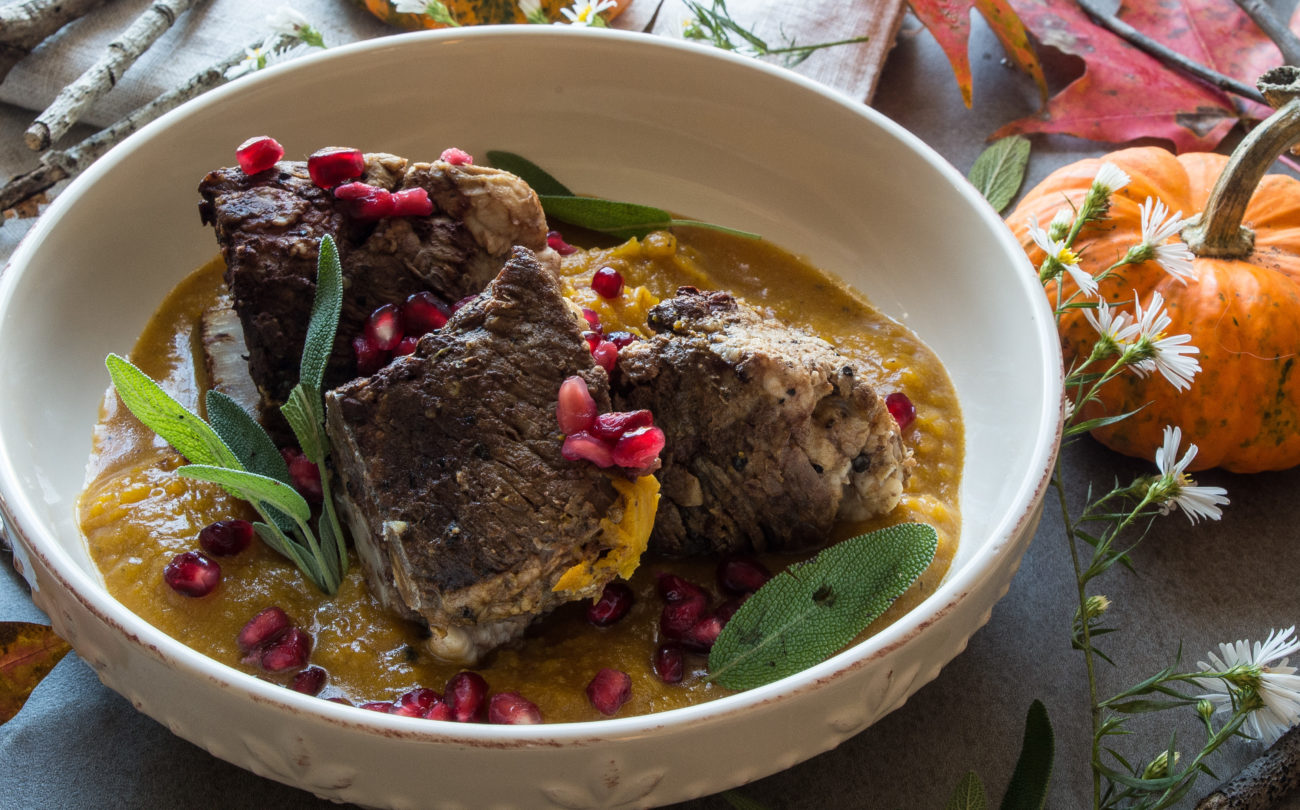 Instant Pot Braised Short Ribs with Pumpkin Mash