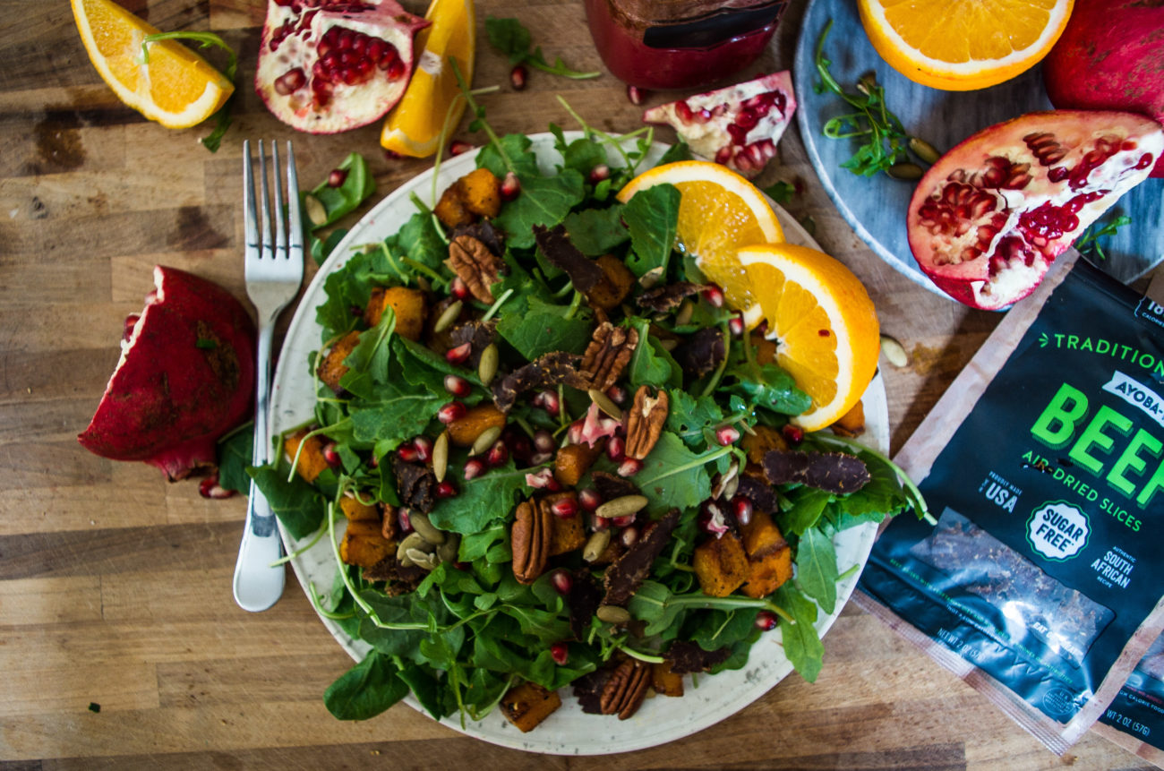 "Pomegranate,""Bacon"", and Roasted Squash Salad"