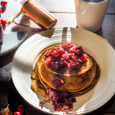 Sweet Potato Pancake with Cranberry Apple Jam|thekitcheneer.com