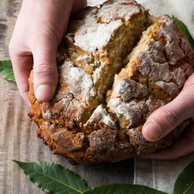 Gluten Free Irish Soda Bread- a traditional Irish Soda Bread recipe made grain free and natural sweetness from honey. Perfect for dunking in stews!|thekitcheneer.com