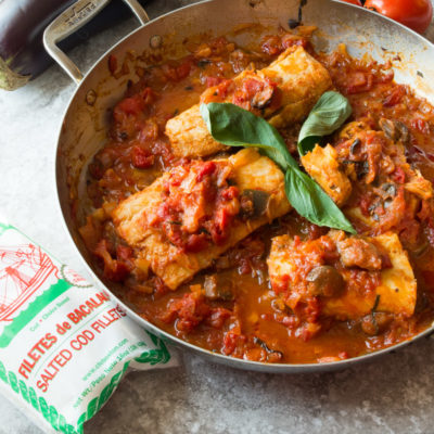 Baccala alla Eggplant –also known as Cod Sautéed in an Eggplant Tomato Sauce- a super easy and delicious Whole30 one skillet meal recipe that is perfect for a quick weeknight dinner that only sounds fancy and done in less than 30 minutes!