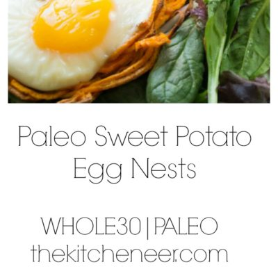 Paleo Sweet Potato Egg Nests- the perfect trio for the ultimate Sunday brunch of sunny eggs, sweet potatoes, and all the greens. Easter and Mother's Day brunch is done!|thekitcheneer.com