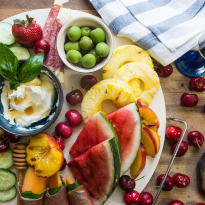 Grilled Fruit Summer Cheese Board- summer's simplest grilled fruit cheese board appetizer perfect 4th of July recipe!|thekitcheneer.com