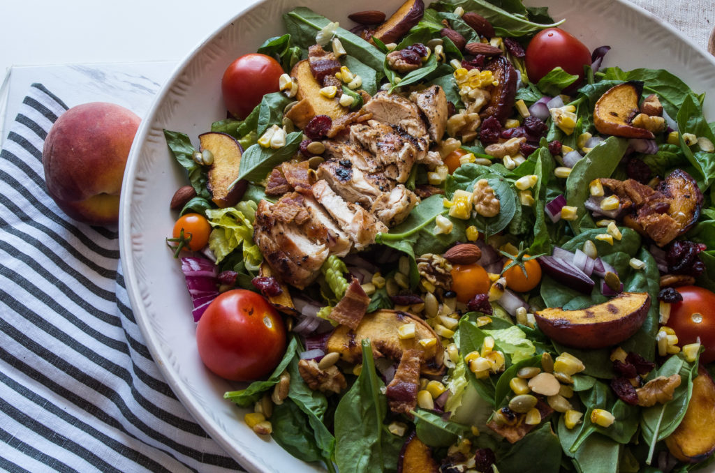 Grilled Balsamic Chicken And Peach Cobb Salad